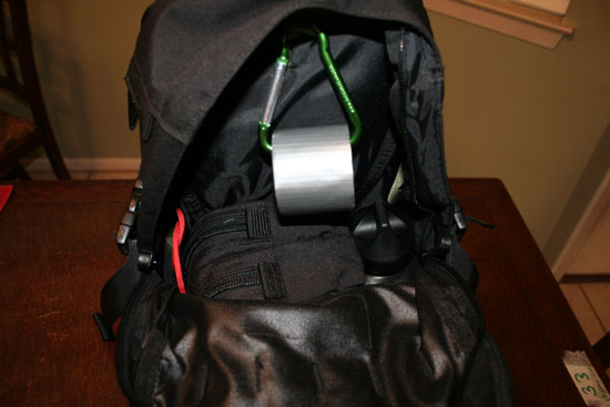 Interior of bag